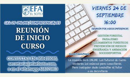 REUNIÓN DE INICIO DE CURSO PARA LOS CICLOS ONLINE/SEMIPRESENCIALES